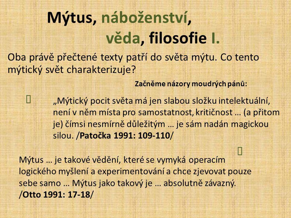 Mýtus, náboženství, věda, filosofie I.