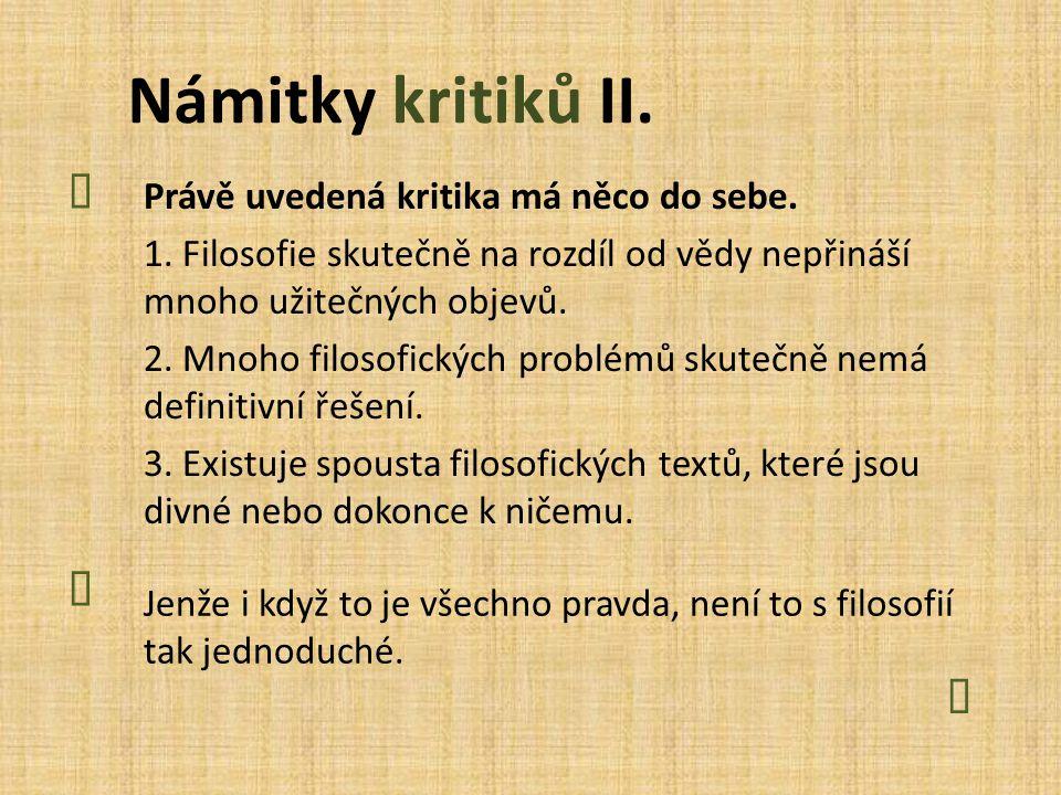 Námitky kritiků II. Ï.