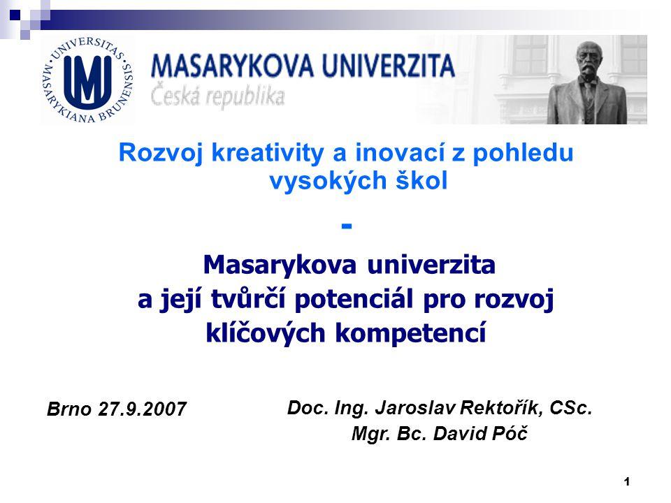 - Rozvoj kreativity a inovací z pohledu vysokých škol