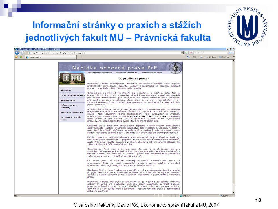 Informační stránky o praxích a stážích
