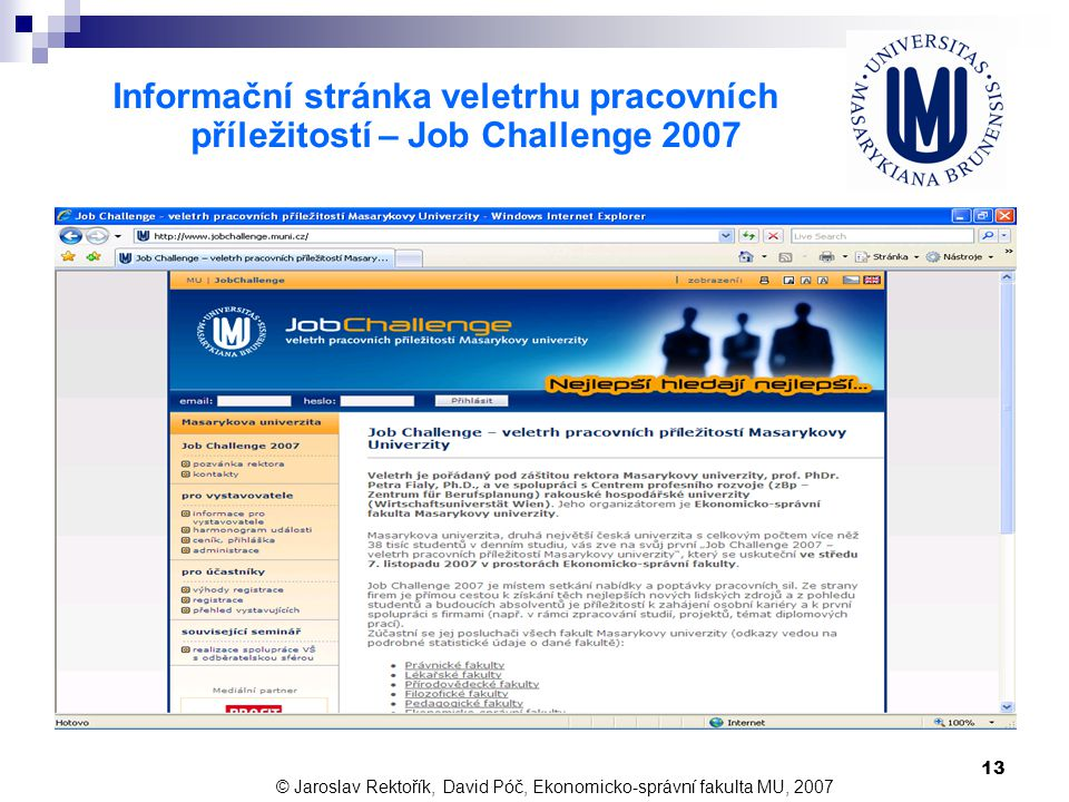 Informační stránka veletrhu pracovních příležitostí – Job Challenge 2007