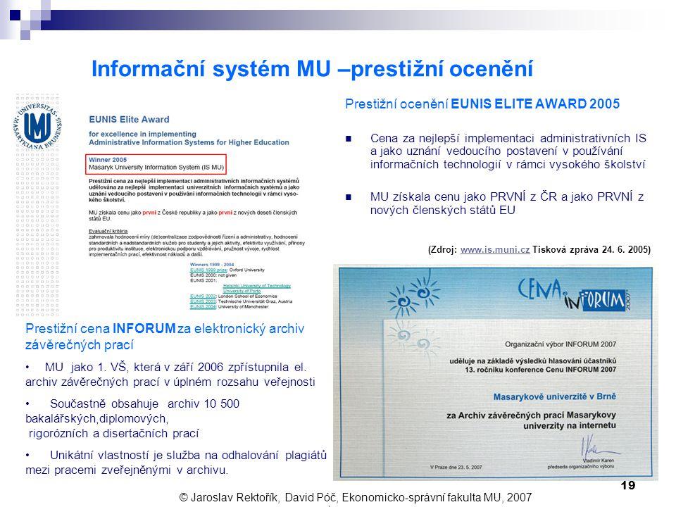 Informační systém MU –prestižní ocenění