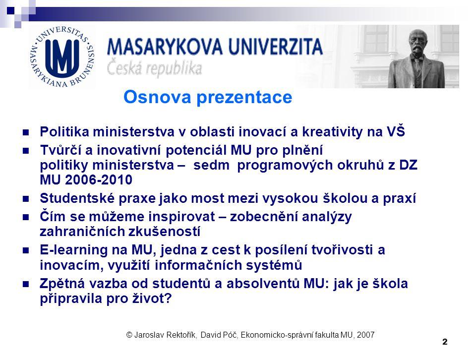Osnova prezentace Politika ministerstva v oblasti inovací a kreativity na VŠ.