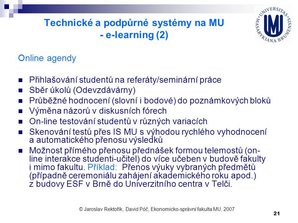 Technické a podpůrné systémy na MU - e-learning (2)