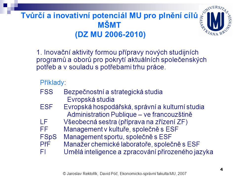 Tvůrčí a inovativní potenciál MU pro plnění cílů MŠMT (DZ MU 2006-2010)