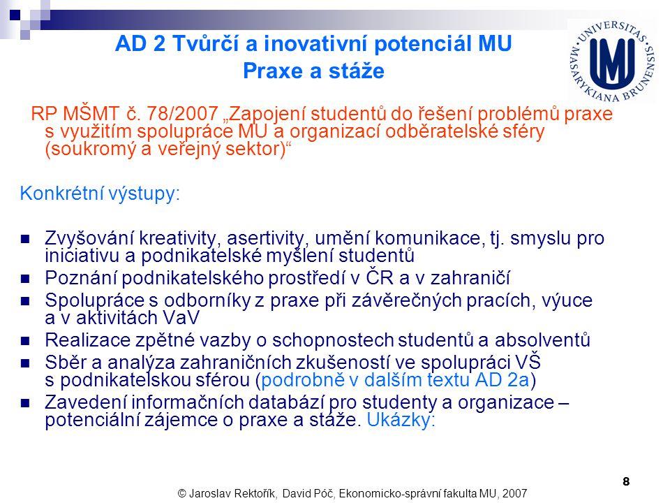AD 2 Tvůrčí a inovativní potenciál MU Praxe a stáže