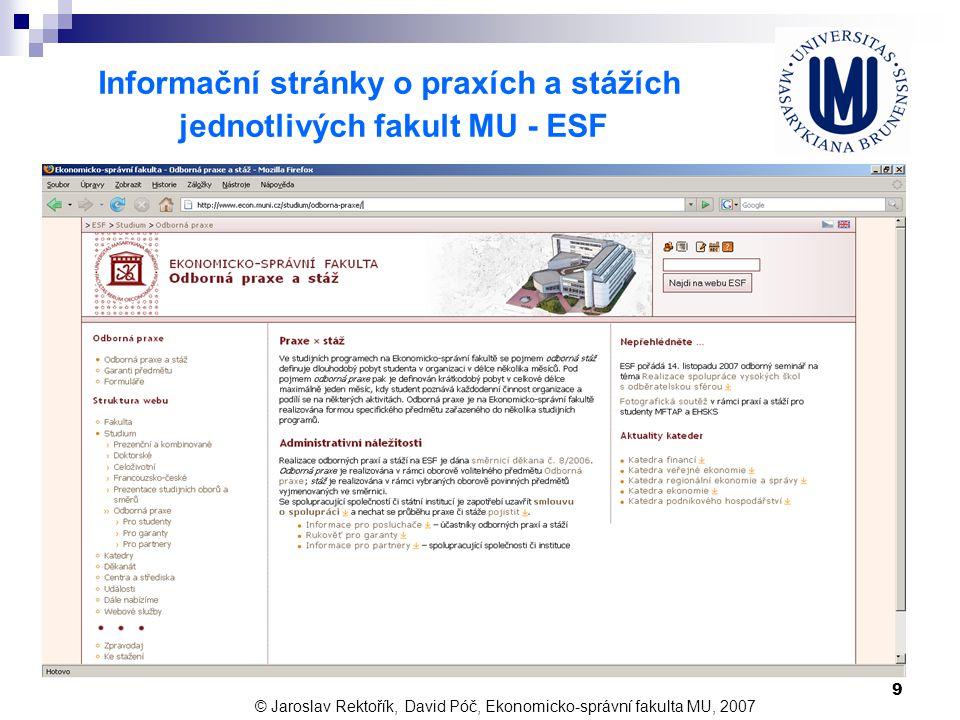 Informační stránky o praxích a stážích jednotlivých fakult MU - ESF