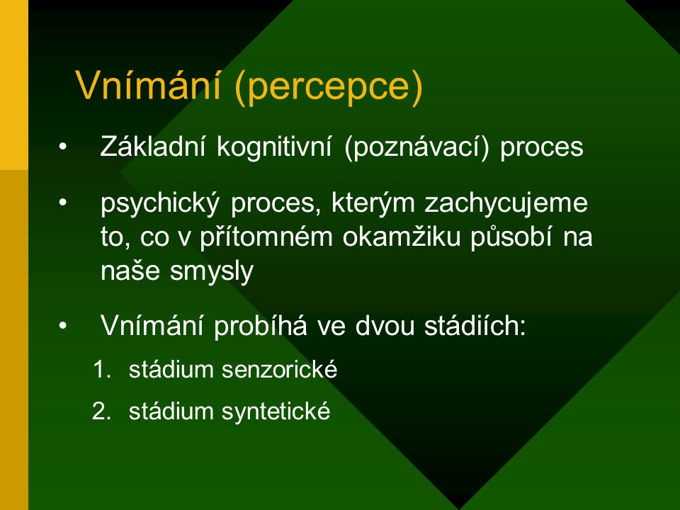 Vnímání (percepce) Základní kognitivní (poznávací) proces