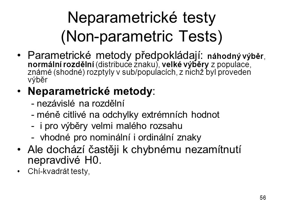 Neparametrické testy (Non-parametric Tests)