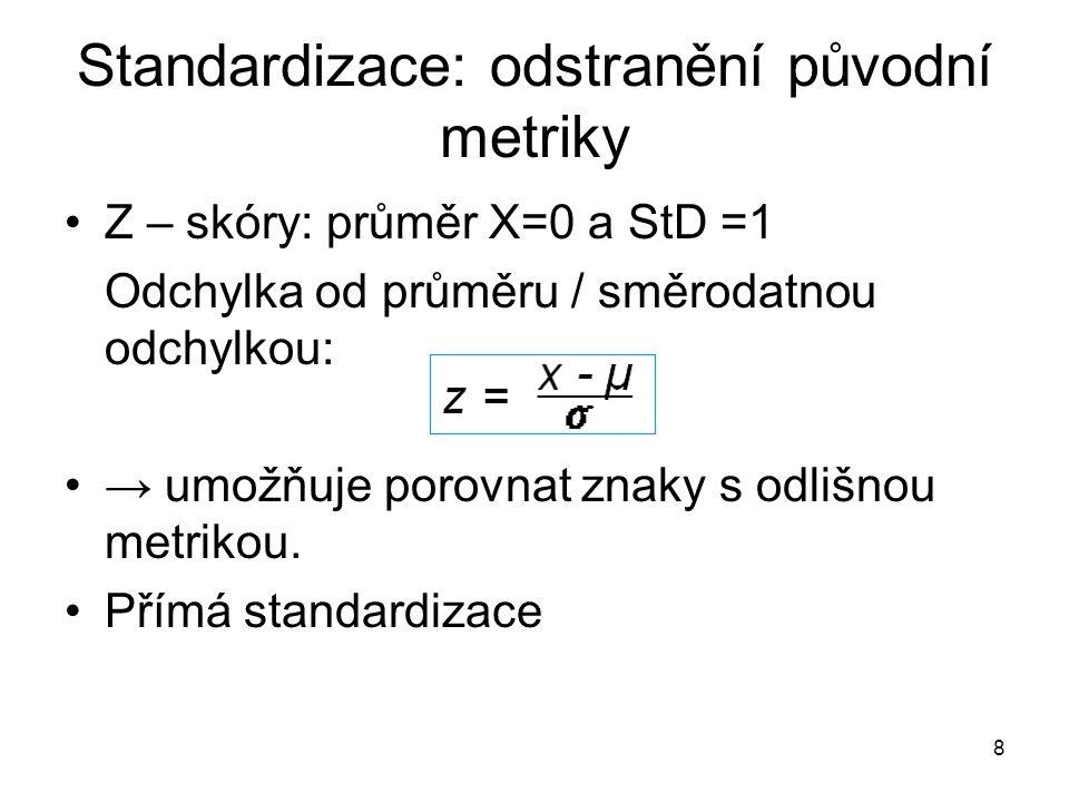 Standardizace: odstranění původní metriky