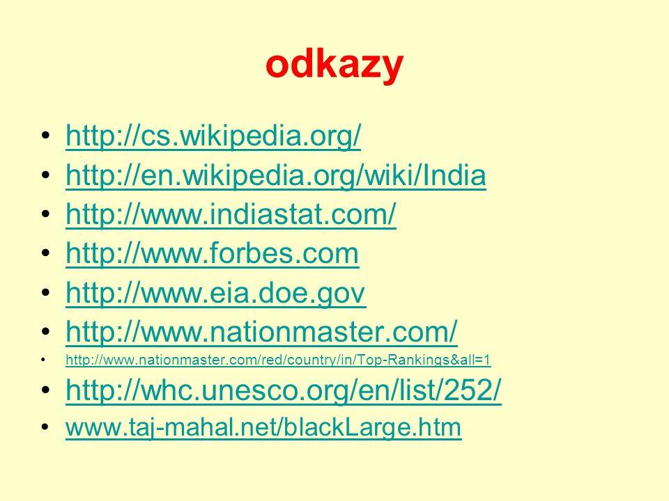 odkazy http://cs.wikipedia.org/ http://en.wikipedia.org/wiki/India