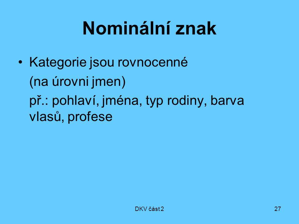 Nominální znak Kategorie jsou rovnocenné (na úrovni jmen)