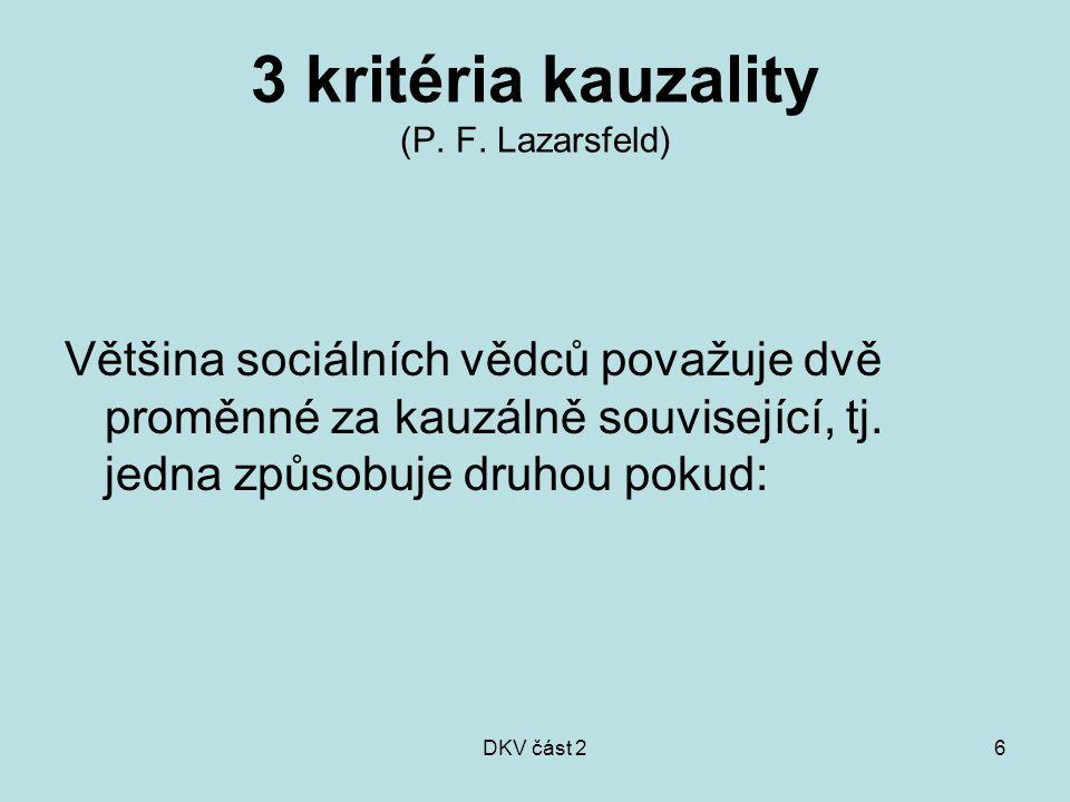 3 kritéria kauzality (P. F. Lazarsfeld)
