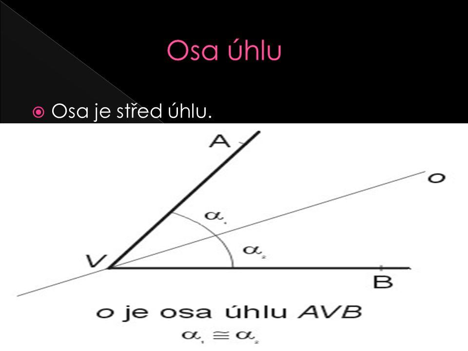 Osa úhlu Osa je střed úhlu.