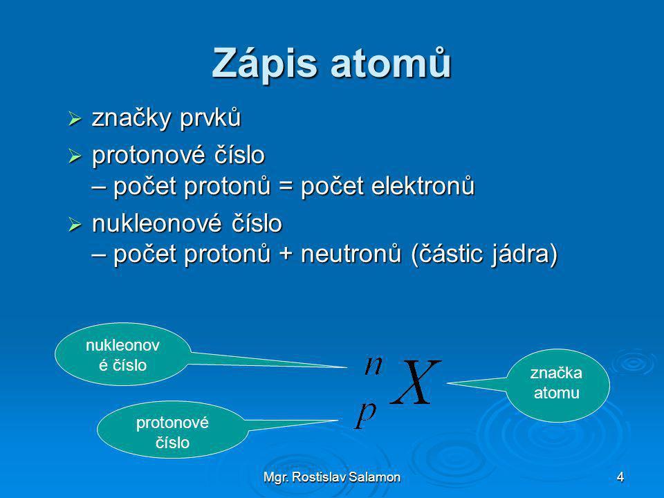 Zápis atomů značky prvků