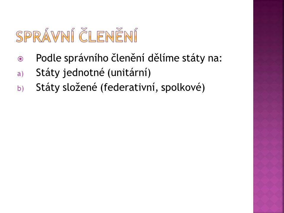 SPRÁVNÍ ČLENĚNÍ Podle správního členění dělíme státy na: