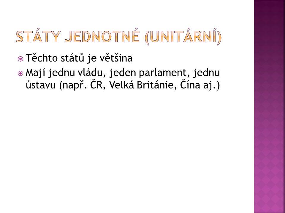 Státy jednotné (unitární)