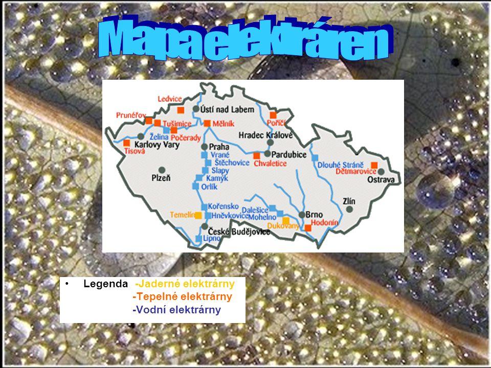 Mapa elektráren Legenda: -Jaderné elektrárny -Tepelné elektrárny
