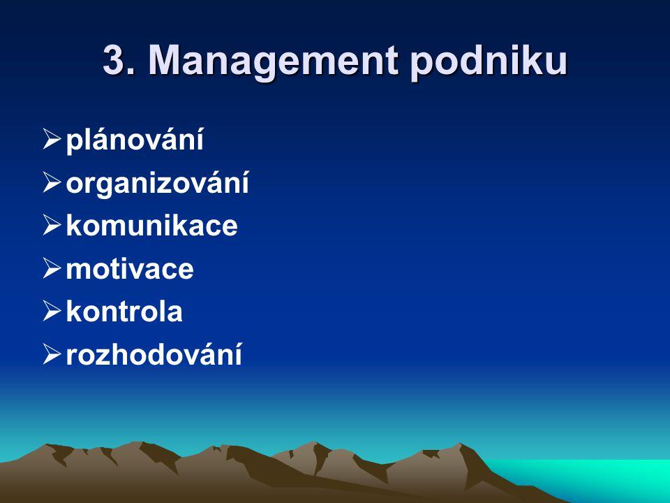3. Management podniku plánování organizování komunikace motivace