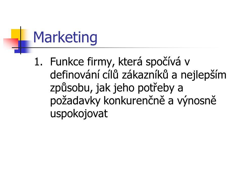 Marketing Funkce firmy, která spočívá v definování cílů zákazníků a nejlepším způsobu, jak jeho potřeby a požadavky konkurenčně a výnosně uspokojovat.