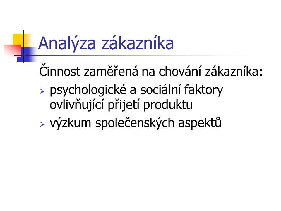 Analýza zákazníka Činnost zaměřená na chování zákazníka: