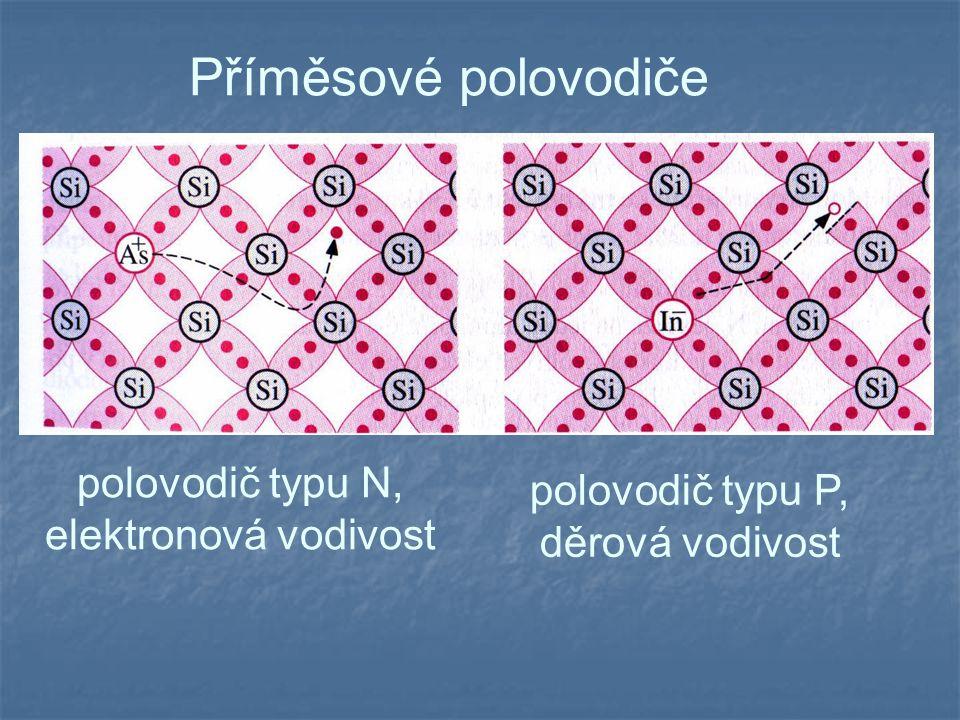 Příměsové polovodiče polovodič typu N, elektronová vodivost