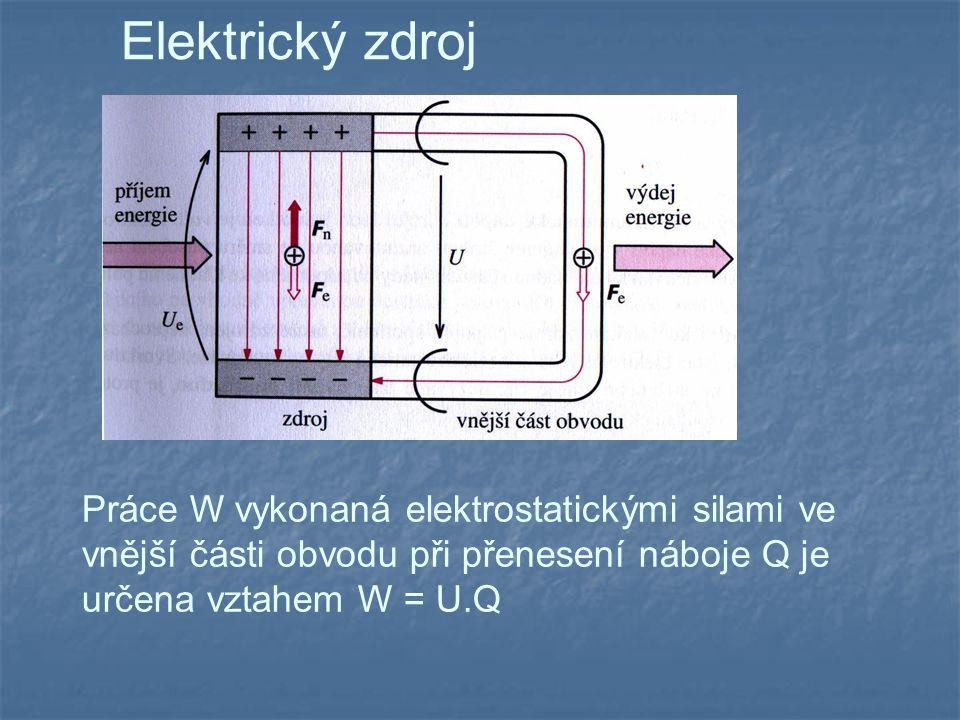 Elektrický zdroj Práce W vykonaná elektrostatickými silami ve vnější části obvodu při přenesení náboje Q je určena vztahem W = U.Q.