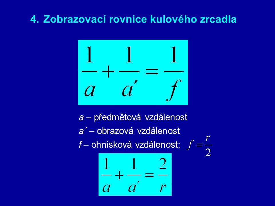 4. Zobrazovací rovnice kulového zrcadla