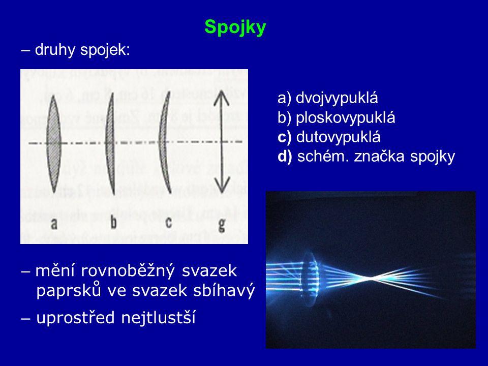 Spojky – druhy spojek: dvojvypuklá ploskovypuklá c) dutovypuklá