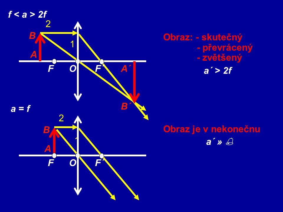 f < a > 2f 2. F. O. F´ A. B. 1. Obraz: - skutečný. - převrácený. - zvětšený. A´ B´ a´ > 2f.