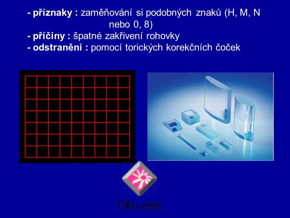 - příznaky : zaměňování si podobných znaků (H, M, N