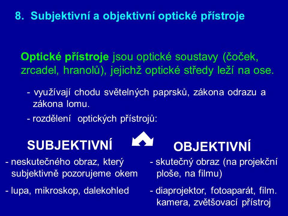 SUBJEKTIVNÍ OBJEKTIVNÍ 8. Subjektivní a objektivní optické přístroje