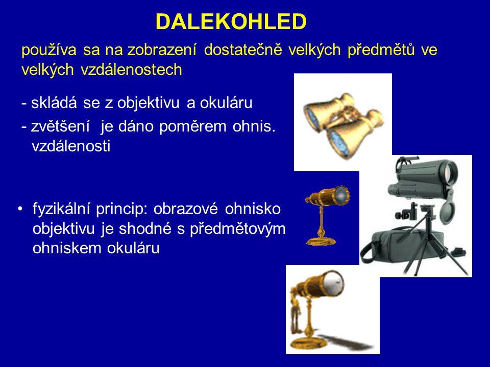 DALEKOHLED používa sa na zobrazení dostatečně velkých předmětů ve velkých vzdálenostech. - skládá se z objektivu a okuláru.