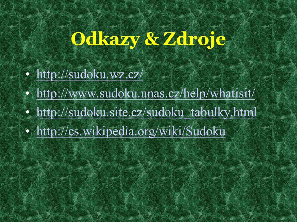 Odkazy & Zdroje http://sudoku.wz.cz/