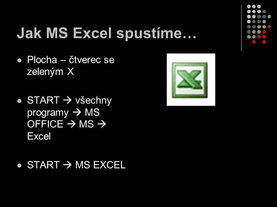 Jak MS Excel spustíme… Plocha – čtverec se zeleným X
