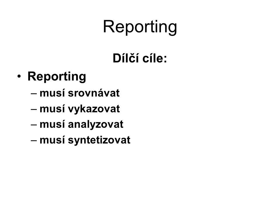 Reporting Dílčí cíle: Reporting musí srovnávat musí vykazovat