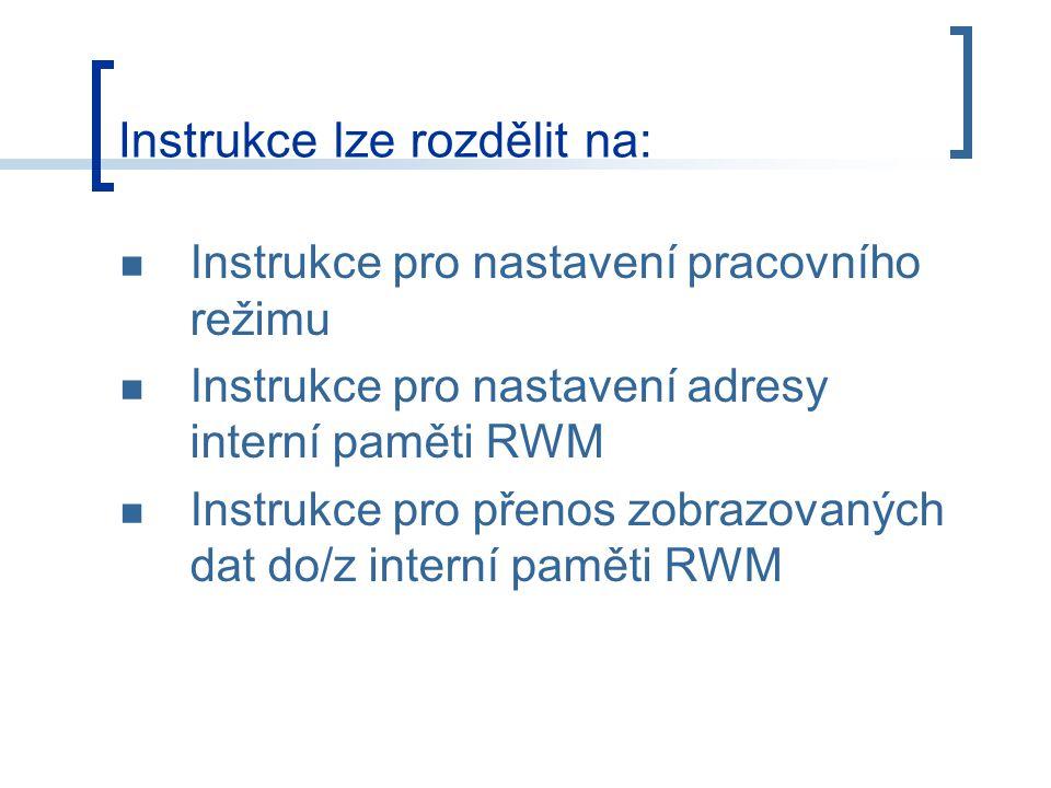Instrukce lze rozdělit na: