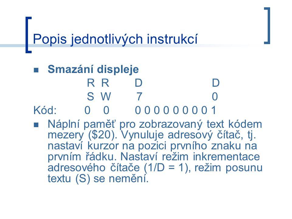 Popis jednotlivých instrukcí
