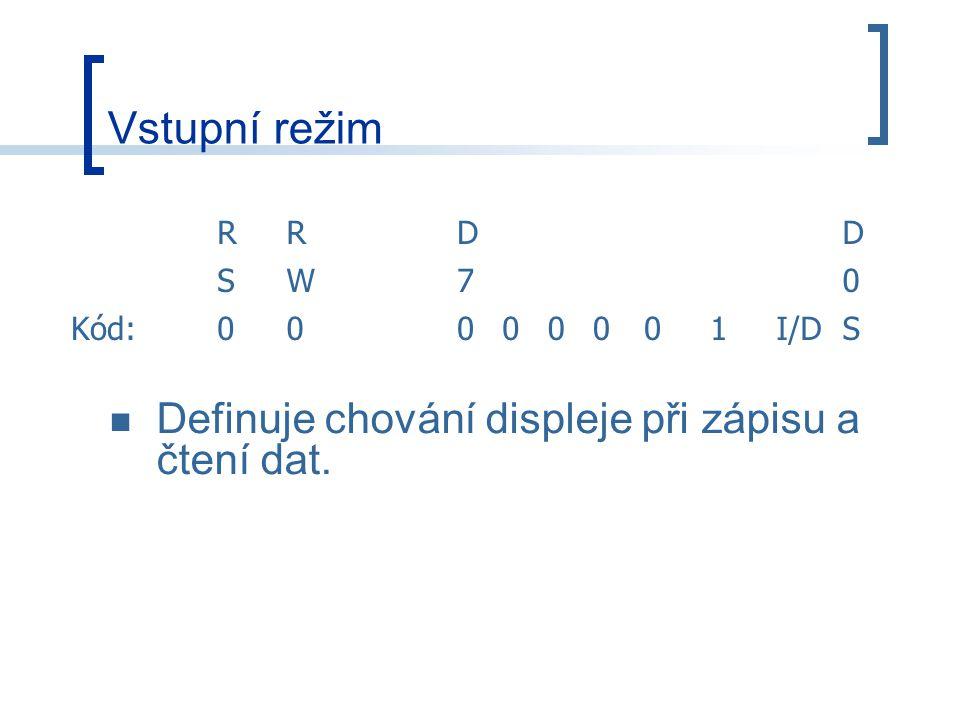 Vstupní režim Definuje chování displeje při zápisu a čtení dat. R D S