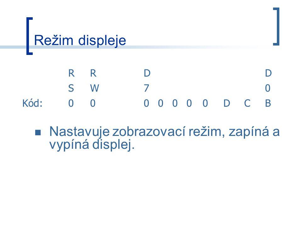 Režim displeje Nastavuje zobrazovací režim, zapíná a vypíná displej. R