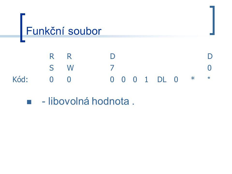 Funkční soubor R D S W 7 Kód: 1 DL * - libovolná hodnota .