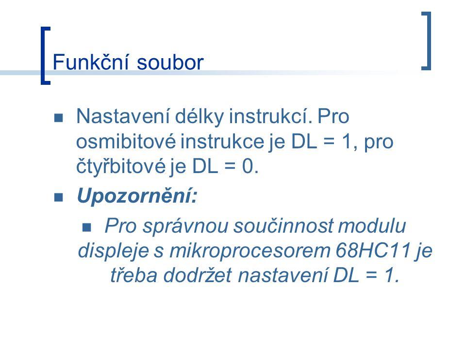 Funkční soubor Nastavení délky instrukcí. Pro osmibitové instrukce je DL = 1, pro čtyřbitové je DL = 0.