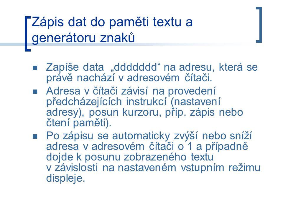 Zápis dat do paměti textu a generátoru znaků