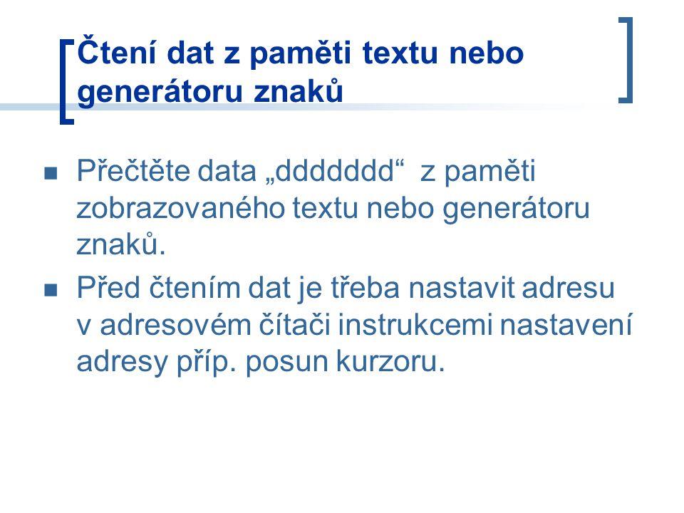 Čtení dat z paměti textu nebo generátoru znaků