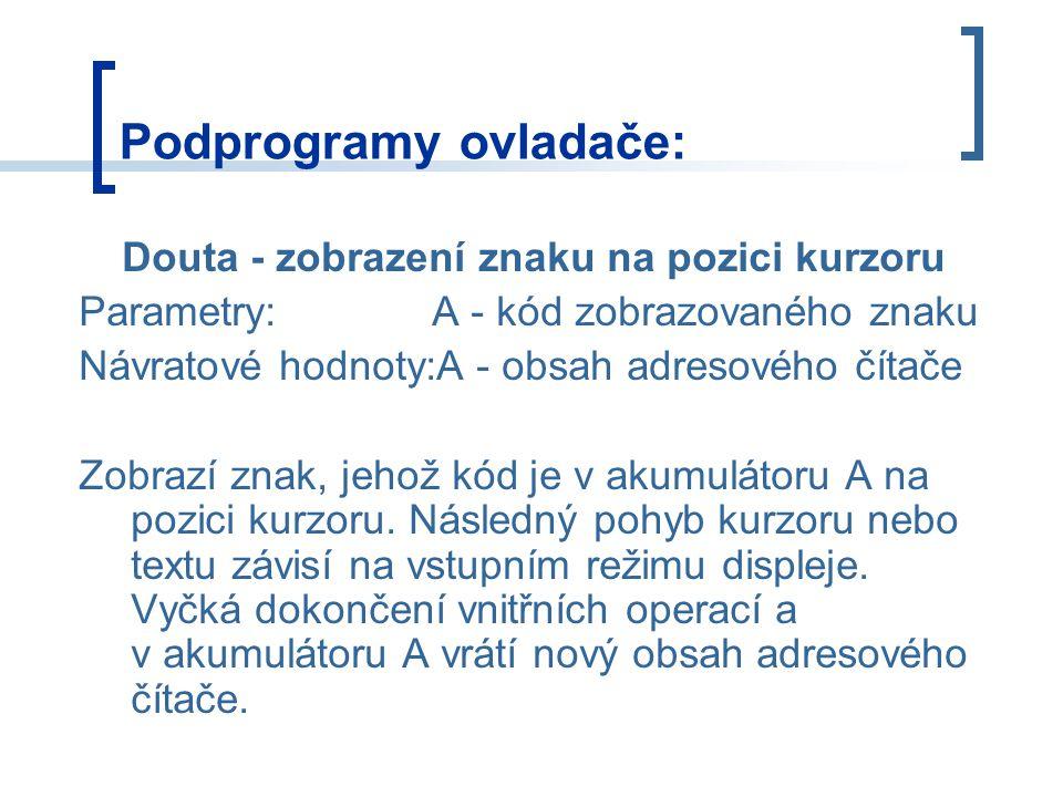 Podprogramy ovladače: