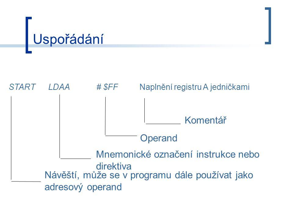 Uspořádání Komentář Operand