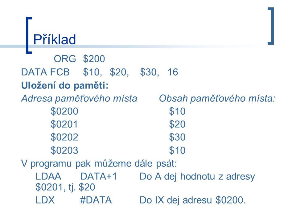 Příklad ORG $200 DATA FCB $10, $20, $30, 16 Uložení do paměti: