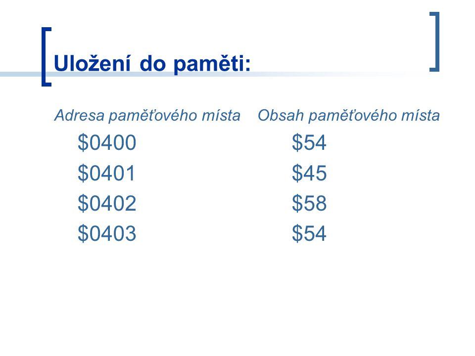Uložení do paměti: $0400 $54 $0401 $45 $0402 $58 $0403 $54