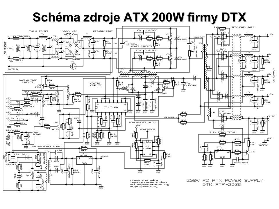 Schéma zdroje ATX 200W firmy DTX