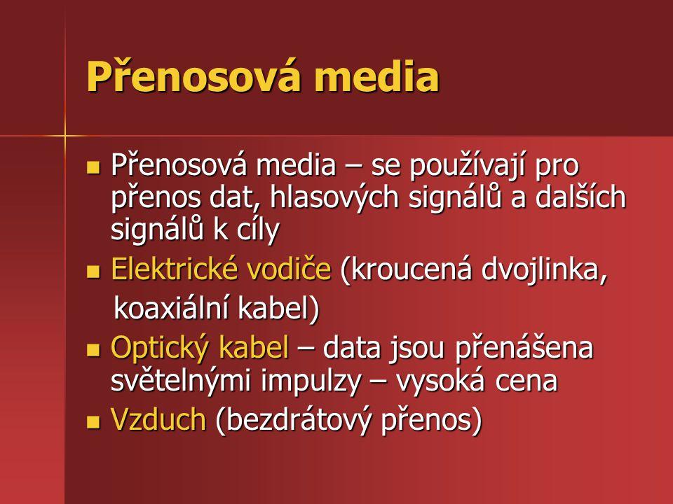 Přenosová media Přenosová media – se používají pro přenos dat, hlasových signálů a dalších signálů k cíly.